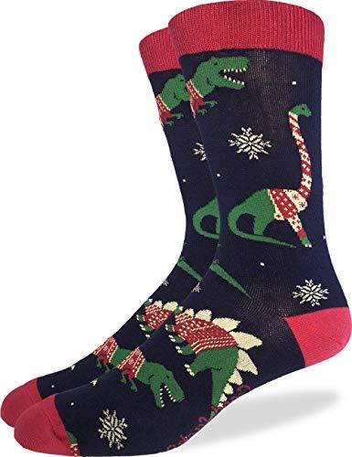 Good Luck Sock Men's Christmas Sweater Dinosaurs Socks