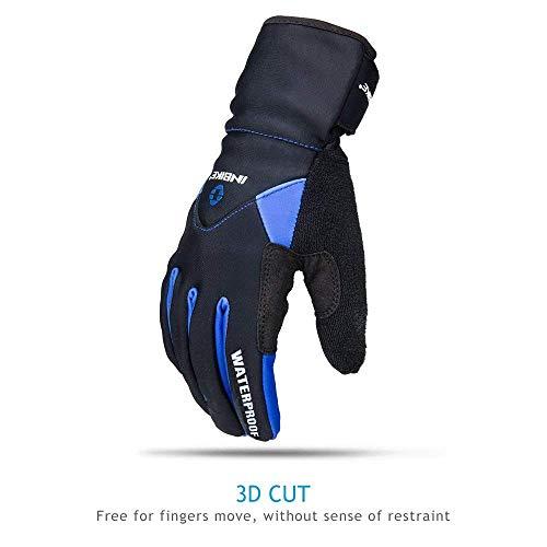 Inbike Fahrradhandschuhe Winter Thermo Gepolsterte Handfläche Radsport Gel Handschuhe Windddichte(Blau,L) - 8