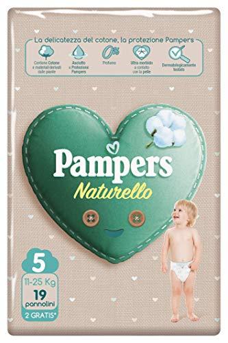 Pampers Naturello, 19 Windeln aus Baumwolle und natürlichen Materialien, aus Pflanzen, 0% Duft, Größe 5 (11-25 kg)