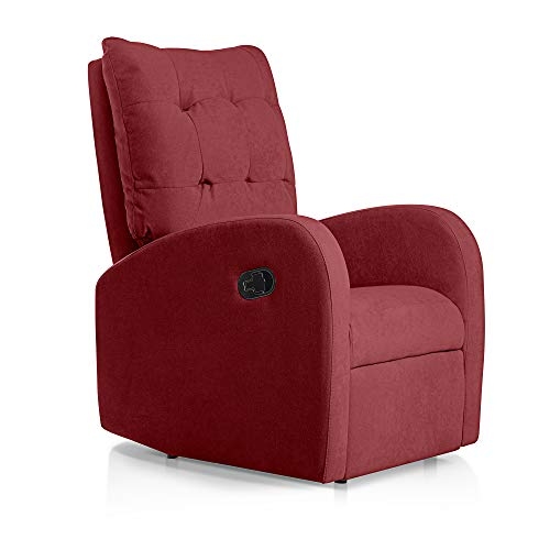 SUENOSZZZ-ESPECIALISTAS DEL DESCANSO Sillon Relax orejero reclinable Soft tapizado en Tela Antimanchas Rojo