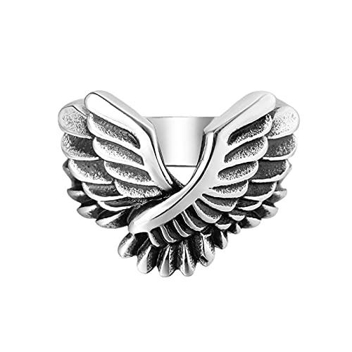 Yongpeng Decoración Antigua Único ángel Antiguo ala de ala de Acero Inoxidable Banda de Malla de Malla Punk Biker Boda y Anillo de coupnfinger para Hombre OSR616 (Ring Size : 7)