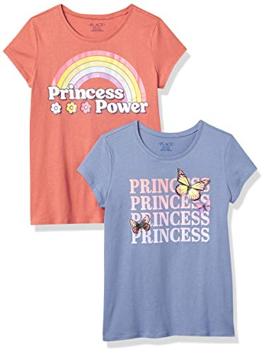 The Children's Place Girls' Short Sleeve Graphic T-Shirt 2-Pack, Princess, Large