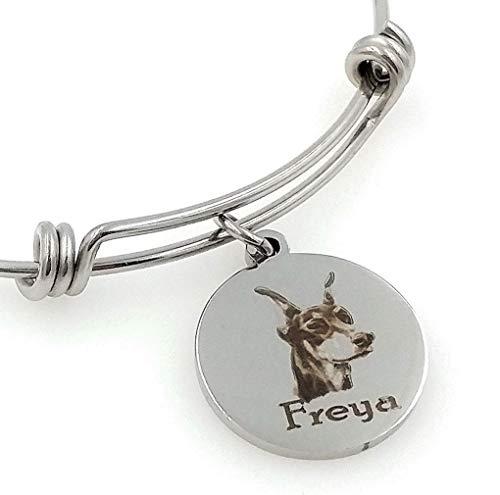 Chloe & Violet Jewelry Dobermann brazalete pulsera-personalizada, grabado, ampliable