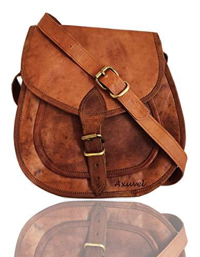 Axuvel Bolso de hombro de piel para mujer, bolso de viaje, bolsa de compras, bolso multiusos (11 pulgadas)