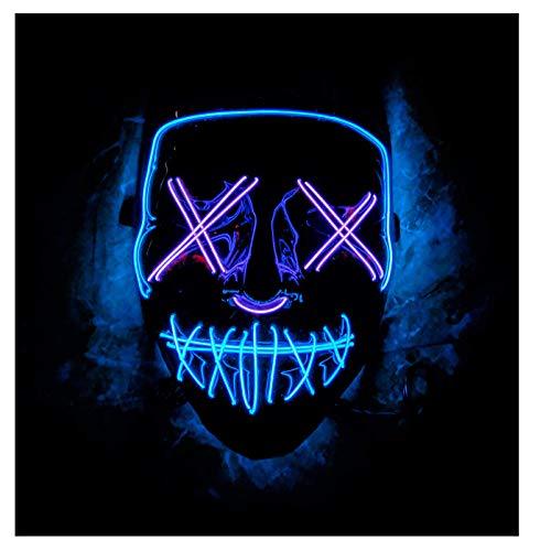Double Color Led - Halloween Led Mask - Led Face Mask - Led Purge Mask - 10 Option (Blue - Purple)