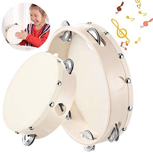Holz Trommel mit Jingles,Holz Handheld Tamburin,Tamburine mit Jingel Bells,handtrommel percussion,tamburin trommel,tamburin holz,tambourin percussion, handtrommel für kinder (A)