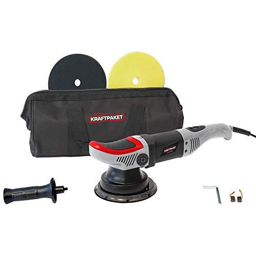 Dino KRAFTPAKET 640296 8mm-710W Exzenter Poliermaschine mit ZWANGSROTATION Stufenlos im Set mit 125mmPolierschwamm 125mm Polierteller Tasche für Auto KFZ Boot, Grau