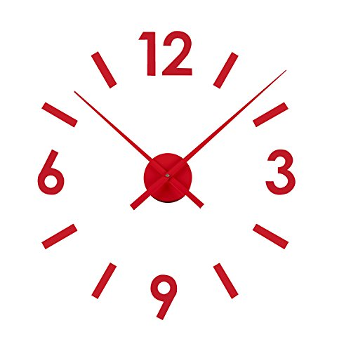 Versa 16660122 Reloj de pared adhesivo Rojo Pegatina, Dimensiones regulables