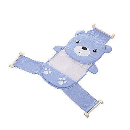 Warooma Baby-Badesitz Stütznetz Bär Neugeborene Badewannenschlinge Hängematte Netz Sicherheit Dusche Bad Wiege Ringe für Badewanne, baumwolle, blau, 55.5cm x 68cm