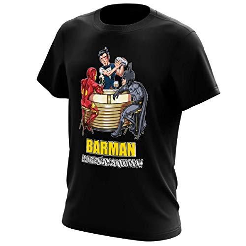 T-Shirt Noir MCU - Justice League parodique Iron Man, Batman et.Barman : Barman, Le Super Héros du Quotidien ! (Parodie MCU - Justice League)