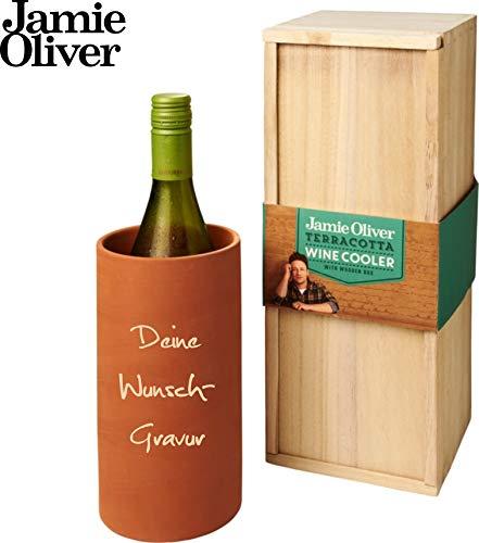 Schmalz Jamie Oliver® Terracotta Weinkühler in Einer Paulownia-Holz-Geschenkschachtel (mit Gravur)