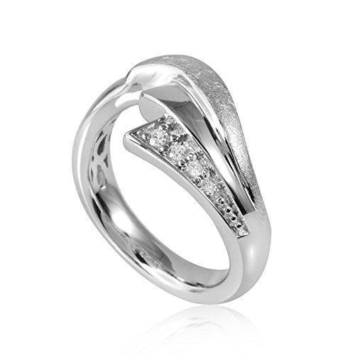 MATERIA 925 Silber Ring Fantasie Blatt Design - Zirkonia Ring Damen silber gebürstet rhodiniert inkl. Ring-Etui #SR-46, Ringgrößen:57 (18.1 mm Ø)