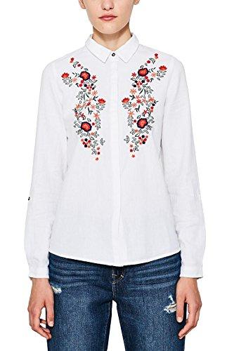 edc by ESPRIT Damen 087CC1F018 Bluse, Weiß (White 100), Small