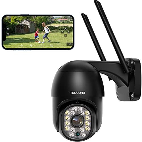 Telecamera Wifi Esterno con Visione Notturna a Colori, Topcony PTZ Zoom Digitale IP Videocamera di Sorveglianza con Pan 355° e Tilt 90°, Auto Tracking, Rilevamento del Movimento, Supporto ONVIF NVR