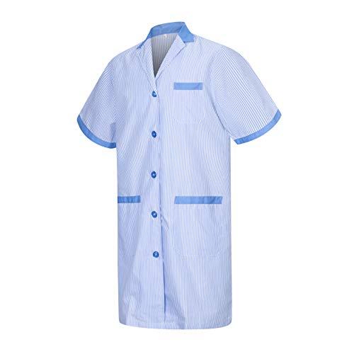 MISEMIYA - Camice Bianco Lavoro Signora Maniche Corte Uniforme Clinica Ospedale Pulizia Veterinario IGIENE OSPITALITÁ - Ref.T8162 - Medium, Cielo Blu