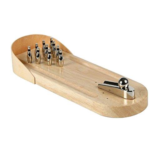TOYANDONA Tisch Mini Bowling Spiel Set mit Metallkegeln Holz Kegelspiel Tischspiel Brettspiel Erwachsene Kinder Interaktion Spielzeug