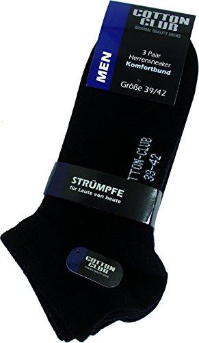 Cotton Club Herren-Sneaker-Socken, uni mit Komfortb& (39/42, schwarz)