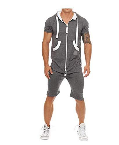 Herren Kurze Jumpsuit für Sommer Kurze Hose Kurzarm Overall Onesie Männer T-Shirt Kapuze Sommerjumpsuit Schlafanzug kurzer Jogginganzug Trainingsanzug (Dunkelgrau, XXXL)