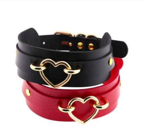 Halsband mit Herz Kette Metall Sklave Schwarz Rot Weiß Bondage BDSM SM Farbe Rot
