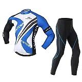 MISLD - Camiseta de ciclismo para hombre, manga larga, esponja gruesa, transpirable, excelente elasticidad, fuerte resistencia a la abrasión, color azul, S