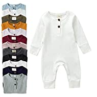 Argorgeous Newborn Baby Boy Girl Ribbed Romper Unisex Long Sleeve Bodysuit Pajamas Solid Plain Jumpsuits Fall Clothes