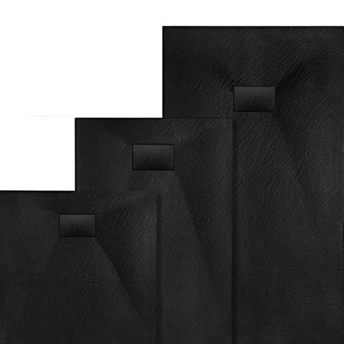 VILSTEIN Design Duschwanne | Antirutsch Duschtasse | flach | Steinoptik | inkl. SMC Abdeckung | 100x80 cm | Schwarz