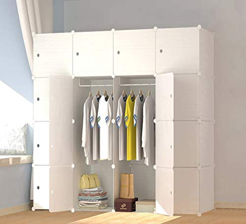 JOISCOPE MEGAFUTURE Plastic Wardrobe, Portable Wardrobe with Wood Grain Pattern,Closet for Hanging...