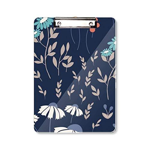 Wit Blauw Bloem Plant Verf Klembord Folder Schrijven Pad Achterplaat A4