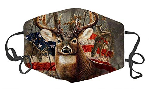 LuxSweet Flag Deer Custom Design Fashion Mouth Mask Face Mask Adjustable Anti Dust for Unisex Men Women
