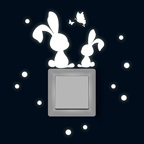 Lichtschaltertattoo Lichtschalteraufkleber Lichtschaltersticker Wandtattoo Wandbild Osterhasen mit Schmetterlingen und Punkten fluoreszierend M1885