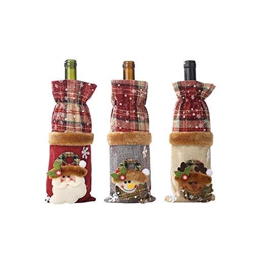 Couverture De Bouteille De Vin De Noël Bouteille de Vin Rouge Sac Bouteille De Vin Couvre Sac pour Bouteille de Vin Emballage Cadeau À Cordon Motif Père Noël Décoration (Sacs pour Bouteilles 3PCS)