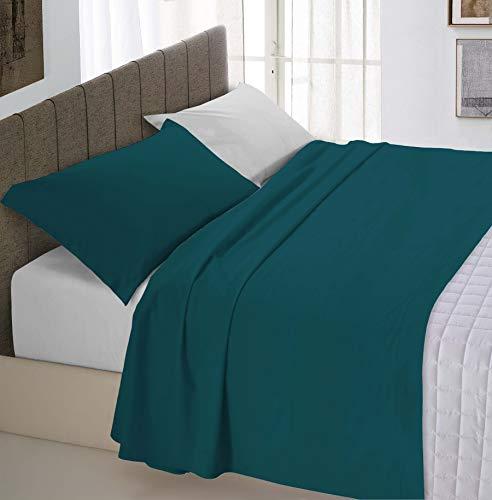 Italian Bed Linen Natural Color Completo Letto Doppia Faccia, 100% Cotone, (Verde Petrolio/Grigio Chiaro), Piazza e Mezza, 3 Unità