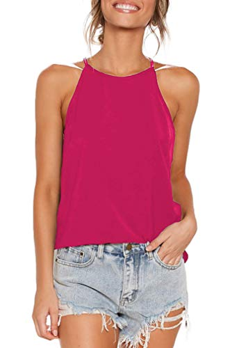 Sarin Mathews Womens Tops Sleeveless Halter Racerback Summer Casual Shirts Basic Tee Shirts Cami Tank Tops Beach Blouses Rosered XL
