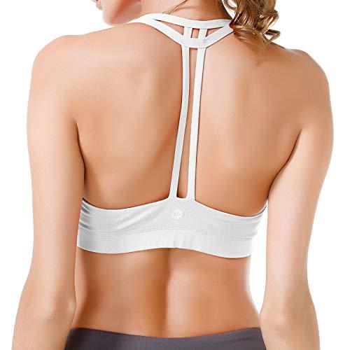 QUEENIEKE Damen leichte Unterstützung Doppel-T Rücken Kabellose Pad Yoga BH Farbe Weiß Größe S(4/6)