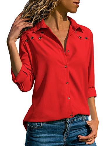 Aleumdr Bluse Damen Langarm hemdbluse V Ausschnitt Langarmshirt einfarbig Business mit Knopfleiste Hemd Oberteile Herbst und Sommer Revers Kragen,1-rot,M