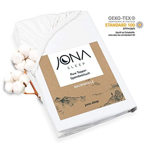 JONA SLEEP Topper-Bezug (180x200 cm) Weiß, Topper Spannbettlaken Boxspringbett aus Baumwolle - Öko Tex - Bettlaken für einfaches Beziehen (Weiß, 180 x 200 cm)