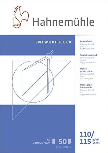 Hahnemühle 10622701 Transparentpapierblöcke, Skizzenpapierblöcke transparentBlock A4 110/115 g 50 Blatt