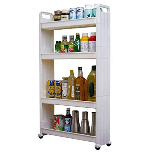 BAOYOUNI Rolling Slim Cart Between Washer Dryer Cabinet Storage Shelf Rack Narrow Slide Out Tower Organizer Space Saving Shelving Units with Wheels 4-Tier