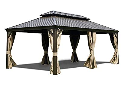 Kozyard Alexander Hardtop Aluminum Permanent Gazebo with a Mosquito Net and Privacy Sidewalls (Alexander 12'x20')