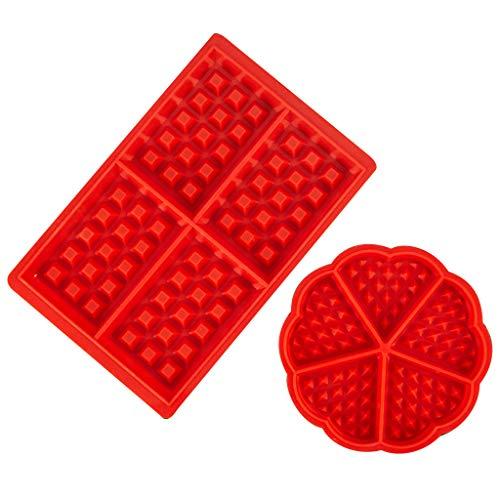 duquanxinquan 2 Stück Waffeln Formkuchenform Waffelform Silikon Waffelform Backform Waffel Kuchenform Tortenform Geeignet für Geschirrspüler, Backofen, Mikrowelle, Kühlschrank