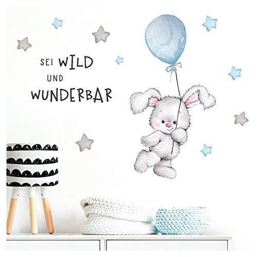 Little Deco Aufkleber Spruch sei wild & Hase I Wandbild 123 x 89 cm (BxH) I Luftballon Wandbilder Wandtattoo Kinderzimmer Junge Tiere Deko Babyzimmer Kinder DL315