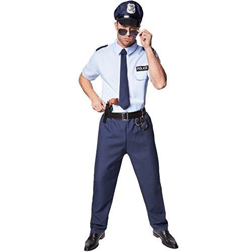 TecTake dressforfun Disfraz de policía para Hombre | Incl. Corbata con Cinta elástica de Goma | Aspectos a Destacar: Se Incluyen Esposas (XL | no. 301526)