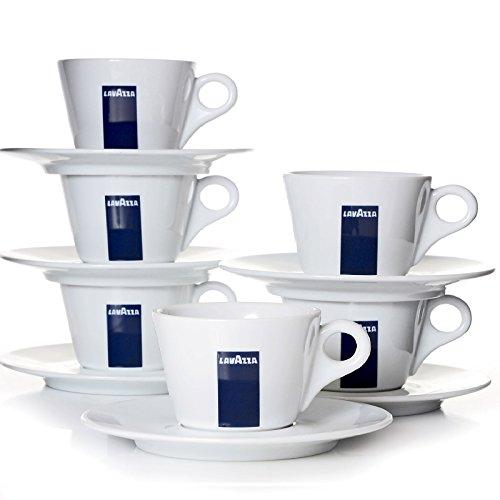 Lavazza Blu Collection Milchkaffee Tasse Konisch, 6er Pack, Kaffeetasse, Porzellan, Weiß, 250ml, 20002140