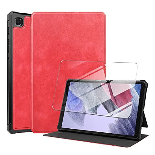 LYZXMY Funda + Protector Pantalla para Samsung Galaxy Tab A7 Lite 8.7' 2021 SM-T225 / SM-T220 - Vidrio Templado, Carcasa Silicona Tablet Cover con Soporte Función Caso PU Flip Case NPW-Rojo