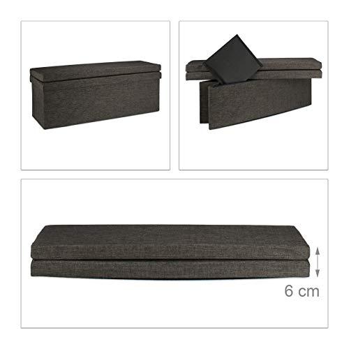 Relaxdays Faltbarer Sitzhocker mit Lehne XL HBT 73 x 114 x 38 cm stabiler Sitzcube als Fußablage Sitzbank und Sitzwürfel aus Leinen als Aufbewahrungsbox mit Stauraum mit Deckel für Wohnraum, braun - 6