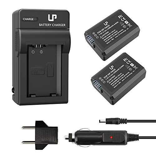 LP NP-FW50 Battery Charger Pack, 2-Pack Battery & Charger, Compatible with Sony Alpha A6000, A6400, A6100, A6300, A6500, A5100, A7, A7 II, A7R, A7R II, A7S, A7S II, RX10, NEX-3/5/7 Series & More