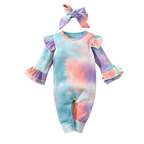 FYMNSI - Mameluco de manga larga para bebé recién nacido con lazo, 2 unidades, para ir a casa, otoño invierno ropa casual para 0 – 24 meses Azul Azul Verde 6-12 Meses