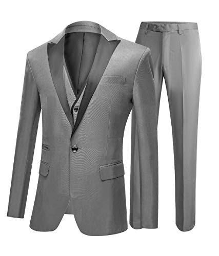 One Button 3 Pieces Grey Wedding Suits Notch Lapel Men Suits Groom Tuxedos Grey 38 Chest / 32 Waist