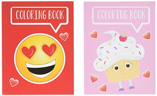 Valentine Characters Mini Coloring Books 24 Pack: 12 Smiley Face Emoticon Books and 12 Cupcake Design Books