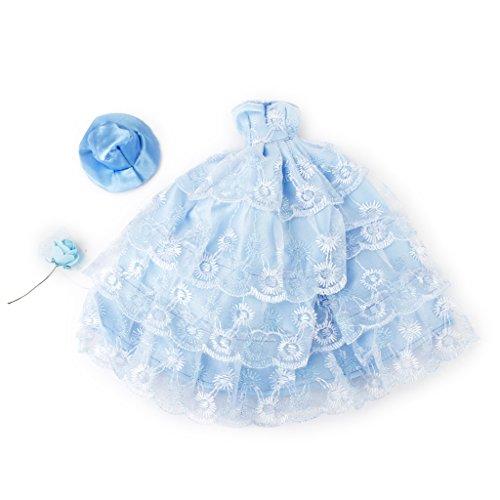 【ノーブランド品】ドール用ウェディングドレス 4層 花柄 洋服 バービー 人形用 ドレス ハットとフラワー付き